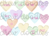 Watercolor Valentine's Day Conversation Hearts Digital Cli