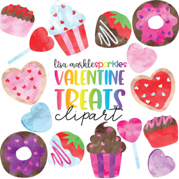 Watercolor Valentine's Day Doughnut Cupcake Candy Cookie Treat Clipart