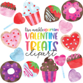 Valentine's Day Doughnut Cupcake Candy Cookie Treat Clipart Watercolor