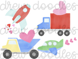 Watercolor Valentine's Day Vehicles & Trucks Digital Clip Art Set