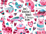 Watercolor Valentines Day Animals