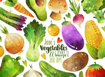 Watercolor Vegetables Clipart