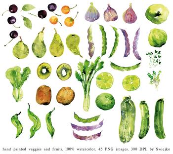 Watercolor Veggies and Fruits