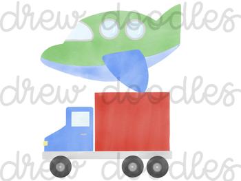 Watercolor Vehicles & Trucks Digital Clip Art Set