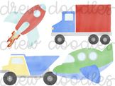 Watercolor Vehicles & Trucks Digital Clip Art Set