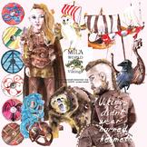 Watercolor Viking clipart