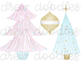 Watercolor Vintage Christmas Digital Clip Art Set