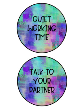 Watercolor Voice Level Signs -Editable