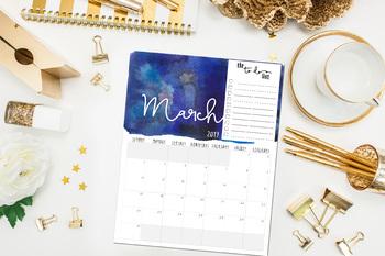Watercolor Wall Calendar July 2018 through July 2019, School Year Calendar