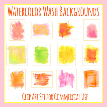 Watercolor Washed Clip Art Set for Commercial Use