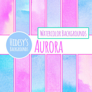 Watercolor Washes Pink and Blue Handpainted Backgrounds / Digital Papers