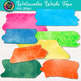 Watercolor Washi Tape Clip Art {25 Hand-Painted Rainbow Page Elements}