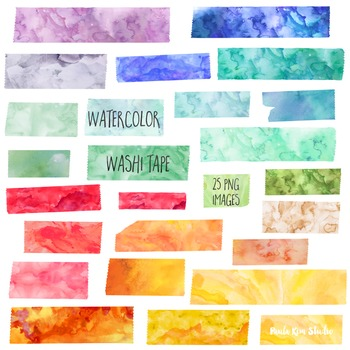 Watercolor Washi Tape Clipart