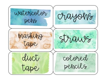 Watercolor Washi Tape Toolbox Supply Labels (200 Labels & 43 Editable)