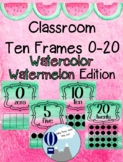 Watercolor Watermelon Theme Classroom Ten Frames Posters 0-20