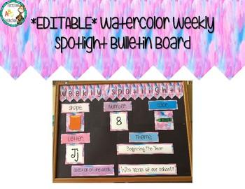 Watercolor Weekly Spotlight Bulletin Board