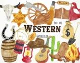 Watercolor Western Clipart, Western Graphics, Cowboy Clipa