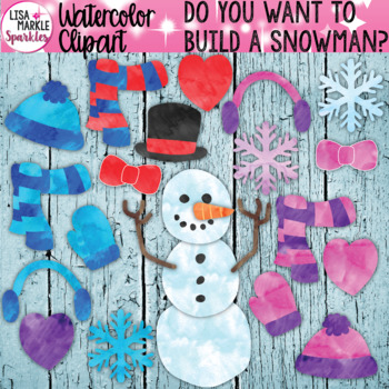 Watercolor Winter Build a Snowman Clipart