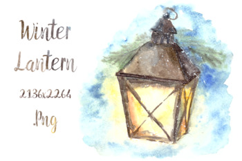 Watercolor Winter Lantern Illustration and Card