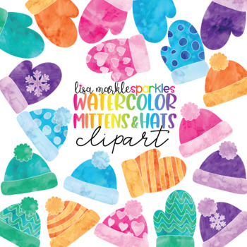 Watercolor Winter Mitten and Hat Clipart