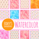 Watercolor Wishing Trees Digital Papers / Backgrounds Clip Art Set