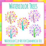 Watercolor Wishing Trees - Handpainted Water Color Trees Clip Art Commercial Use