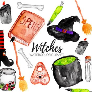 Watercolor Witch Clipart
