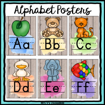 Alphabet, Number, Color & Shape Posters: Wood & Watercolor Decor
