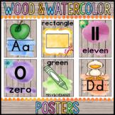 Alphabet, Number, Color & Shape Posters: Wood & Watercolor Decor
