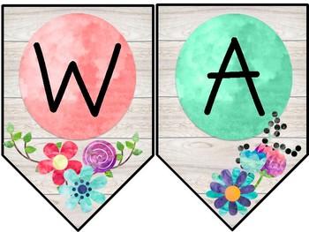 Watercolor & Wood Classroom Decor Word Wall