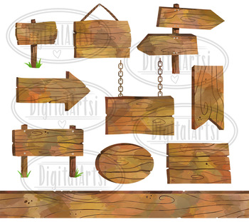 Watercolor Wooden Signs Clipart