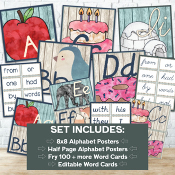 Watercolor Woodland Animals Alphabet Cards ONLY (Ball & Stick Font)