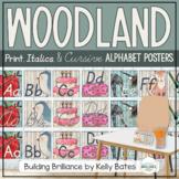 Watercolor Woodland Animals Alphabet Cards (Print, Italics, and Cursive Fonts)