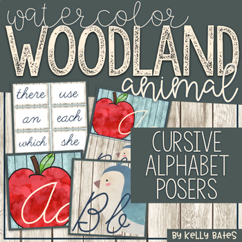Watercolor Woodland Animals Alphabet Cards ONLY (Cursive Font)
