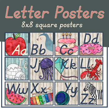 Watercolor Woodland Animals Alphabet Cards ONLY (Italics Font)