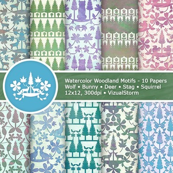 Watercolor Woodland Animals Digital Paper - 10 Forrest Animal Patterns