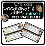 Watercolor Woodland Classroom Desk Name Plates