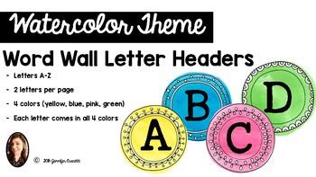 Watercolor Word Wall Headers