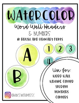Watercolor Word Wall Headers and Numbers