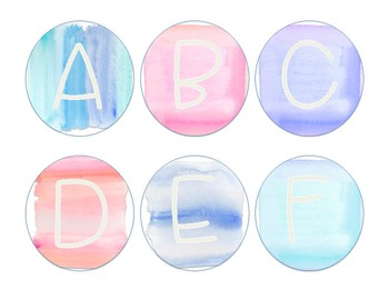 Watercolor Word Wall Letters