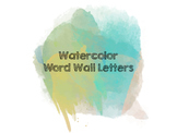 Watercolor Word Wall Letters (Blue)