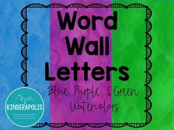 Watercolor Word Wall Letters: Purple, Blue, and Green!