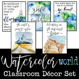 Watercolor World Classroom Decor: World Literature, Geography, History