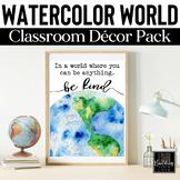 Watercolor World Classroom Decor: World Literature, Geogra