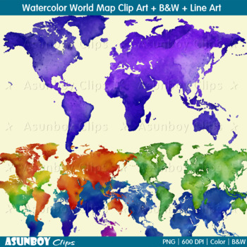 Watercolor World Map Clipart Hand Painted B W And Line Art
