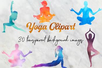 Watercolor Yoga Clipart