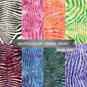 Watercolor Zebra Print Digital Paper