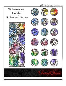 Watercolor Zen Doodle Bookmark & Buttons