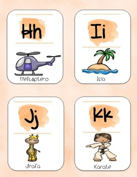 Watercolor alphabet posters in Spanish