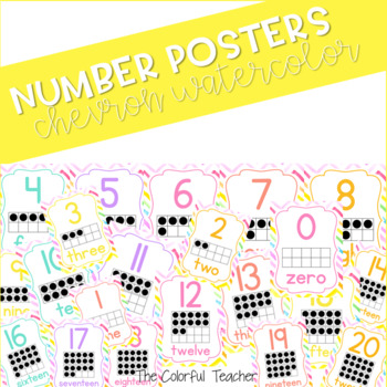 Watercolor and Chevron Number Posters 0-20
